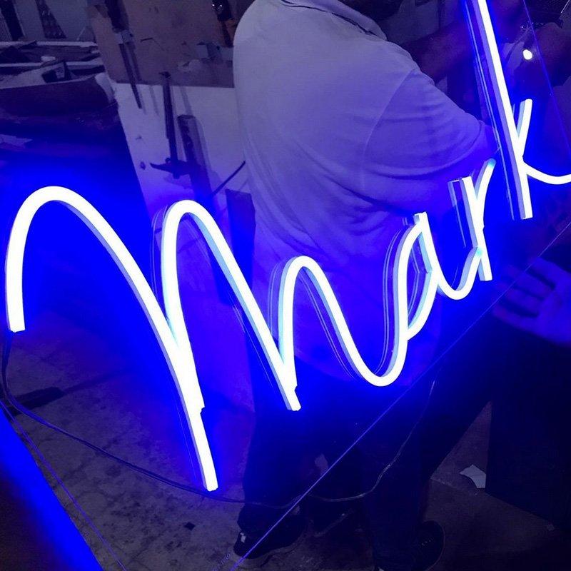custom neon sign for custom names, initials by super neon sabra in lebanon, beirut
